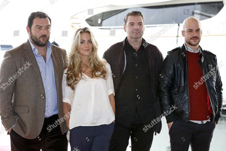 (l-r) French Actor Denis Menochet British Actress Miranda Raison British Actor Brendan Coyle and Canadian Actor Marc-andre Grondin Pose During a Photocall For the Tv Series 'Spotless' at the Annual Mipcom Television Content Market in Cannes France 13 October 2014 the Media Event Runs From 13 to 16 October France Cannes