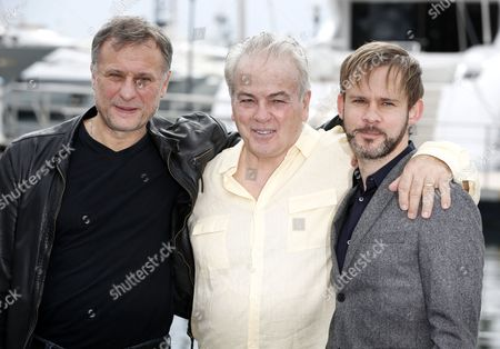 Stock Image of (l-r) Swedish Actor Michael Nyqvist Us Screenwriter Bobby Moresco and British Actor Dominic Monaghan Pose During a Photocall For the Tv Series '100 Code' at the Annual Mipcom Television Content Market in Cannes France 13 October 2014 the Media Event Runs From 13 to 16 October France Cannes