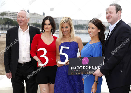 Stock Picture of (l-r) French Porn Producer Marc Dorcel French Porn Actress Claire Castel Lola Reve Jade Laroche and Gregory Dorcel Pose During a Photocall For 'Dorcel 35th Anniversary' at the International Audiovisual and Digital Content Market Miptv 2014 Held at the Festival Palace in Cannes France 08 April 2014 the Miptv Which Runs From 07 to 10 April is One of the World's Leading International Trade Events Dedicated to International Television Programs and to Digital Content and Interactive Entertainment For All Platforms France Cannes