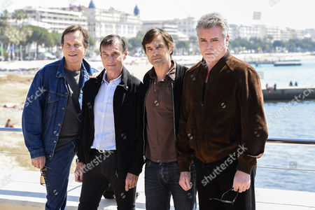 Stock Picture of (l-r) Us Actor Bill Paxton French-british Director Roland Joffe French Actor Olivier Martinez and Us Actor Ray Liotta Pose at a Photocall For the Tv Series 'Texas Rising' at the International Audiovisual and Digital Content Market Miptv 2015 Held at the Festival Palace in Cannes France 13 April 2015 the Miptv Which Runs From 13 to 16 April is One of the World's Leading International Trade Events Dedicated to International Television Programs and to Digital Content and Interactive Entertainment For All Platforms France Cannes