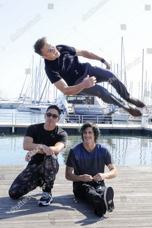 Stock Photo of A Picture Made Available on 14 April 2015 Shows (l-r): Daniel 'Malakai' Cabrera Caine Sinclair (top) and William Spencer Posing During a Photocall For the Tv Series 'The Two Bellmen' at the International Audiovisual and Digital Content Market Miptv 2015 Held at the Festival Palace in Cannes France 13 April 2015 the Miptv Which Runs From 13 to 16 April is One of the World's Leading International Trade Events Dedicated to International Television Programs and to Digital Content and Interactive Entertainment For All Platforms France Cannes