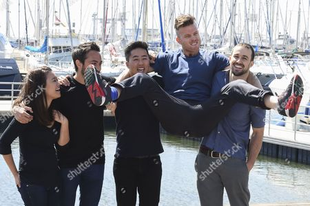 (l-r) Australian Actors Natalie Tran Australian-canadian Derek Muller Vietnamese-chinese John Luc Nick Boshier and Connor Van Vuuren Pose During a Photocall For the Tv Series 'Screen Australia' at the International Audiovisual and Digital Content Market Miptv 2015 Held at the Festival Palace in Cannes France 14 April 2015 the Miptv Which Runs From 13 to 16 April is One of the World's Leading International Trade Events Dedicated to International Television Programs and to Digital Content and Interactive Entertainment For All Platforms France Cannes