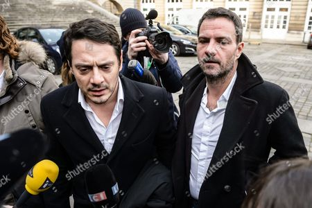 French Societe Generale Rogue Trader Jerome Kerviel (r) and His Lawyer David Koubbi (l) Arrive at the Courthouse For the Re-examination of His Case in Paris France 18 January 2016 Kerviel a Former Banker Ran Up to 4 9 Billion Euros in Losses at Societe Generale in 2008 and was Sentenced to Prison on 19 May 2014 For a Three-year Jail Sentence France Paris