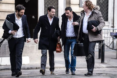 French Societe Generale Rogue Trader Jerome Kerviel (2-r) Talks with His Lawyer David Koubbi (2-l) As They Arrive at the Courthouse For the Re-examination of His Case in Paris France 18 January 2016 Kerviel a Former Banker Ran Up to 4 9 Billion Euros in Losses at Societe Generale in 2008 and was Sentenced to Prison on 19 May 2014 For a Three-year Jail Sentence France Paris