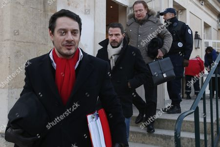 French Former Societe Generale Rogue Trader Jerome Kerviel (c) Arrives with His Lawyers David Koubbi (l) and Benoit Pruvost (r) at the Versailles Appeal Court Fighting Civil Damage in Versaille France 20 January 2016 Kerviel a Former Banker Ran Up to 4 9 Billion Euros in Losses at Societe Generale in 2008 and was Sentenced to Prison on 19 May 2014 For a Three-year Jail Sentence France Versailles
