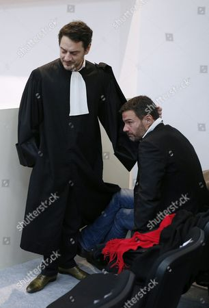 French Former Societe Generale Rogue Trader Jerome Kerviel (r) is Comforted by His Lawyer David Koubbi (l) Inside the Versailles Appeal Court Fighting Civil Damage in Versaille France 20 January 2016 Kerviel a Former Banker Ran Up to 4 9 Billion Euros in Losses at Societe Generale in 2008 and was Sentenced to Prison on 19 May 2014 For a Three-year Jail Sentence France Versailles