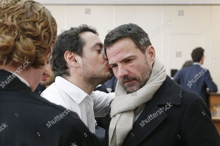 French Former Societe Generale Rogue Trader Jerome Kerviel (r) Receives a Kiss by His Lawyer David Koubbi (l) Inside the Versailles Appeal Court Fighting Civil Damage in Versaille France 20 January 2016 Kerviel a Former Banker Ran Up to 4 9 Billion Euros in Losses at Societe Generale in 2008 and was Sentenced to Prison on 19 May 2014 For a Three-year Jail Sentence France Versailles