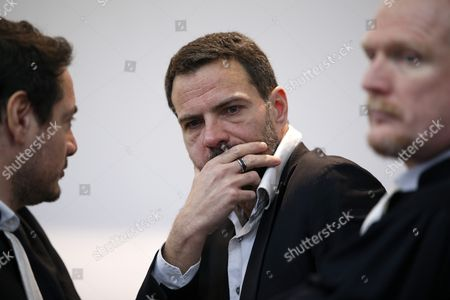 French Former Societe Generale Rogue Trader Jerome Kerviel (c) Waits with His Lawyers David Koubbi (l) and Benoit Pruvost (r) Inside the Versailles Appeal Court Fighting Civil Damage France 20 January 2016 Kerviel a Former Banker Ran Up to 4 9 Billion Euros in Losses at Societe Generale in 2008 and was Sentenced to Prison on 19 May 2014 For a Three-year Jail Sentence France Versailles