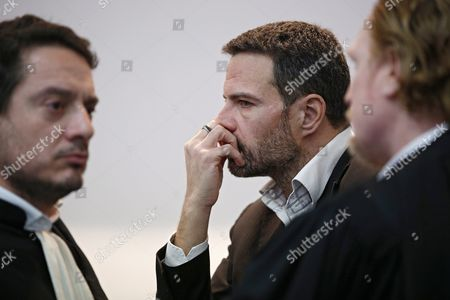 French Former Societe Generale Rogue Trader Jerome Kerviel (c) Waits with His Lawyers David Koubbi (l) and Benoit Pruvost (r) Inside the Versailles Appeal Court Fighting Civil Damage in Versaille France 20 January 2016 Kerviel a Former Banker Ran Up to 4 9 Billion Euros in Losses at Societe Generale in 2008 and was Sentenced to Prison on 19 May 2014 For a Three-year Jail Sentence France Versailles