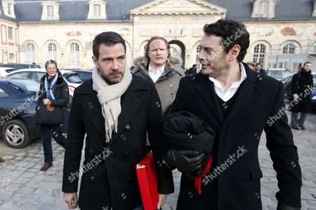 French Former Societe Generale Rogue Trader Jerome Kerviel (l) Leaves the Versailles Appeal Court After Fighting Civil Damage with His Lawyer David Koubbi (r) in Versaille France 20 January 2016 Kerviel a Former Banker Ran Up to 4 9 Billion Euros in Losses at Societe Generale in 2008 and was Sentenced to Prison on 19 May 2014 For a Three-year Jail Sentence France Versailles