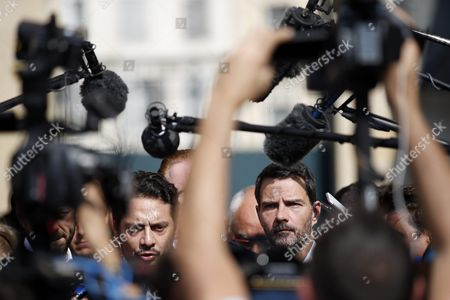 Stock Picture of French Former Societe Generale Rogue Trader Jerome Kerviel (r) Talks to the Media with His Lawyer David Koubbi (l) After Fighting a Civil Damages Case with His Lawyer David Koubbi (c-r) in Versailles France 23 September 2016 Keviel Has Been Sentenced to Pay One Milion Euros to Societe Generale Financial Services Group After They Claimed a 4 9 Billion Euros of Losses in 2008 France Versailles