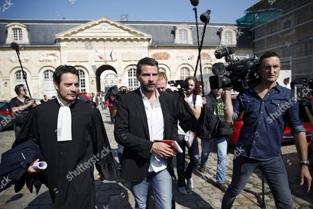 Stock Picture of French Former Societe Generale Rogue Trader Jerome Kerviel (c) Leaves with His Lawyer David Koubbi (l) the Versailles Appeal Court Fighting Civil Damage in Versailles France 23 September 2016 the Court Reduced Keviel's Sentence to Pay One Milion Euros of Damages to Societe Generale Financial Services Group From the Original 4 9 Billion Euros Damages France Versailles