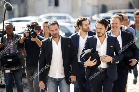 French Former Societe Generale Rogue Trader Jerome Kerviel (c-l) Leaves the Versailles Appeal Court After Fighting a Civil Damages Case with His Lawyer David Koubbi (c-r) in Versailles France 23 September 2016 Keviel Has Been Sentenced to Pay One Milion Euros to Societe Generale Financial Services Group After They Claimed a 4 9 Billion Euros of Losses in 2008 France Versailles