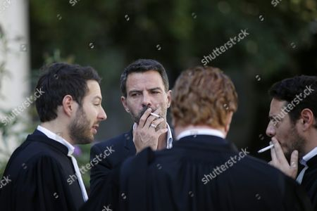 French Former Societe Generale Rogue Trader Jerome Kerviel (2-l) Talks to with His Lawyers After Fighting a Civil Damages Case in Versailles France 23 September 2016 Keviel Has Been Sentenced to Pay One Milion Euros to Societe Generale Financial Services Group After They Claimed a 4 9 Billion Euros of Losses in 2008 France Versailles