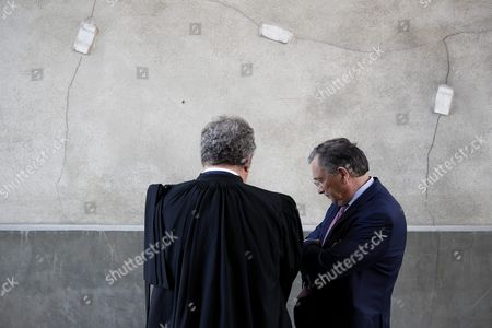Societe Generale Lawyer Jean Veil (l) Talks with General Secretary of Societe Generale Patrick Suet (r) at the Versailles Appeal Court in Versailles France 23 September 2016 French Former Societe Generale Rogue Trader Jerome Kerviel Has Been Sentenced to Pay One Milion Euros to Societe Generale Financial Services Group After They Claimed a 4 9 Billion Euros of Losses in 2008 France Versailles