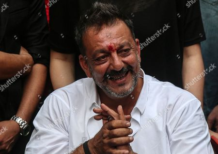 Bollywood Actor Sanjay Dutt Attends a Press Conference at His Residence in Mumbai India 25 February 2016 Sanjay Dutt was Released From Prison After Serving Time For His Role in the 1993 Mumbai Bombings the 56-year-old Actor was Sentenced to Five Years in 2013 For Illegally Possessing Weapons That Were Part of an Arms Consignment Meant For Use in the Attacks Which Claimed 257 Lives India Mumbai