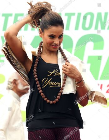 Indian Bollywood Actress Bipasha Basu Gestures After Attending the Mass Yoga Demonstration on the Occasion of the Second International Day of Yoga in Bangalore India 21 June 2016 the Un Has Declared 21 June As the First International Yoga Day After Adopting a Resolution Proposed by Unseen Indian Prime Minister Narendra Modi's Government India Bangalore