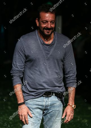 Bollywood Actor Sanjay Dutt Poses For Photographs As He Arrvies to Watch Creations by Indian Designer Masaba During the Lakme Fashion Week (lfw) Summer/resort 2016 in Mumbai India 02 April 2016 the Lfw Summer/resort Collection Runs Until 03 April India Mumbai