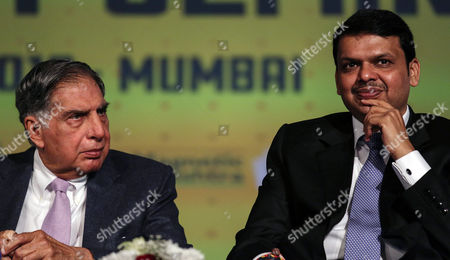 Ratan Tata (l) Chairman Tata Trust and Devendra Fadnavis (r) Chief Minister Maharashtra State Attend a Seminar During the 'Make in India' Week in Mumbai India 15 February 2016 the 'Make in India' Campaign was Launched by the Indian Government to Attract Investment and Make the Country a Global Manufacturing Hub Mumbai is Hosting 'Make in India' Week From 13 to 18 February 2016 India Mumbai