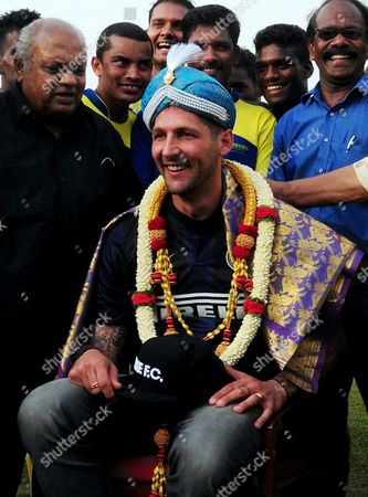 Former Inter Milan Player Marco Materazzi (c) is Felicitated by Bangalore Soccer Association Members in Bangalore India 23 May 2014 Inter Milan is to Launch a Youth Academy in Hosur on the Outskirts of Bangalore by 01 June 2014 India Bangalore