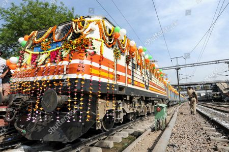 The Gatimaan Express India's First Semi-high Speed Train Stands Idle at the Nizamuddin Railway Station in Delhi India 05 April 2016 the Gatimaan Express was Flagged Off by Indian Railways Rail Minister Suresh Prabhu and Will Run Between Delhi to Agra with a Top Speed of 160 Kph India New Delhi
