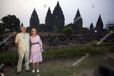 Denmark's Queen Margrethe Ii (r) and Prince Consort Henrik Pose in Front of Prambanan Temple During a Visit in Yogyakarta Indonesia 24 October 2015 the Danish Royal Couple Are on a Five-day Visit to Indonesia to Strengthened Relations Between the Two Countries Indonesia Yogyakarta