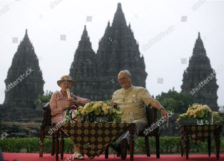 Queen Margrethe Ii of Denmark (l) Speaks As She Sits Next to Her Husband Prince Consort Henrik (r) During a Press Conference at Prambanan Temple in Yogyakarta Indonesia 24 October 2015 the Royal Couple Are on a Five-day Visit to Indonesia to Strengthened Relations Between the Two Countries Indonesia Yogyakarta