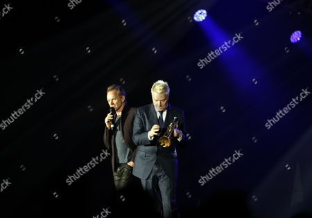 British Singer Sting (l) and Us Jazz Musician Chris Botti Perform During the Java Jazz Festival in Jakarta Late 05 March 2016 Indonesia Jakarta