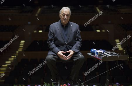 Indian Conductor Zubin Mehta Addresses the Media After a Dress Rehearsal with the Israel Philharmonic Orchestra (ipo) at the Habima Theater in Tel Aviv Israel 13 April 2016 on Occasion of His 80th Birthday on 29 April Mehta was Born the Same Year As the Israel Philharmonic Orchestra and For the Last Five Decades He and the Ipo Have Worked Hand-in-hand to Promote Classical Music in Israel and Around the World Israel Tel Aviv