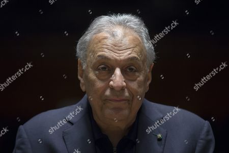 Indian Conductor Zubin Mehta Addresses the Media After a Dress Rehearsal with the Israel Philharmonic Orchestra (ipo) at the Habima Theater in Tel Aviv Israel 13 April 2016 (issued 22 April) on Occasion of His 80th Birthday on 29 April Israel Tel Aviv