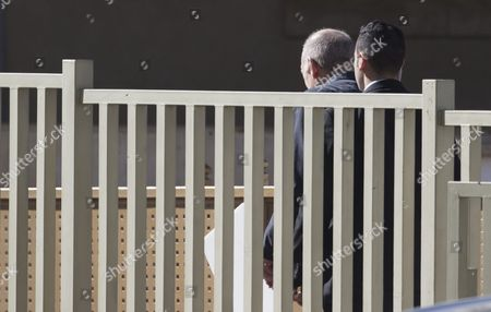 The Former Israel Prime Minister Ehud Olmert (l) Arrives at Massiyahu Prison in Ramale Israel 15 February 2016 Olmert Has to Serve 19 Months in Jail After Being Found Guilty of Corruption Charges Pertaining to when He was Mayor of Jerusalem Before Becoming the Prime Minister Olmert the First Prime Minister to Serve a Jail Term Released a Video Which Says 'No One is Above the Law i Made Mistakes But They Were not Criminal in Nature i Reject Outright the Charges Related to Bribery ' Israel Ramale