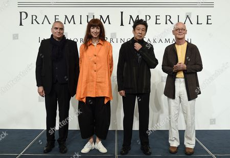 (l-r) French Architect Dominique Perrault French Ballerina Sylvie Guillem Japanese Painter Tadanori Yokoo and German Sculptor Wolfgang Laib Pose During a Photo Call For the 27th Praemium Imperiale in Tokyo Japan 20 October 2015 the Praemium Imperiale is a Global Arts Prize Awarded Annually by the Japan Art Association Five Laureates Are Nominated in the Fields of Painting Sculpture Architecture Music and Theatre/film For Its 27th Edition the Praemium Imperiale Awards Have Been Given to Japanese Painter Tadanori Yokoo German Sculptor Wolfgang Laib French Architect Dominique Perrault French Ballerina Sylvie Guillem and Japan-born Pianist Mitsuko Uchida Japan Tokyo