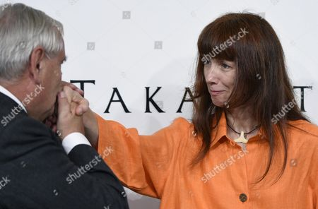 French Former Prime Minister Jean-pierre Raffarin (l) Kisses the Hand of French Ballerina Sylvie Guillem After a Press Conference For the 27th Praemium Imperiale in Tokyo Japan 20 October 2015 the Praemium Imperiale is a Global Arts Prize Awarded Annually by the Japan Art Association Five Laureates Are Nominated in the Fields of Painting Sculpture Architecture Music and Theatre/film For Its 27th Edition the Praemium Imperiale Awards Have Been Given to Japanese Painter Tadanori Yokoo German Sculptor Wolfgang Laib French Architect Dominique Perrault French Ballerina Sylvie Guillem and Japan-born Pianist Mitsuko Uchida Japan Tokyo