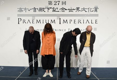 (l-r) French Architect Dominique Perrault French Ballerina Sylvie Guillem Japanese Painter Tadanori Yokoo and German Sculptor Wolfgang Laib Get Ready to Pose During a Photo Call For the 27th Praemium Imperiale in Tokyo Japan 20 October 2015 the Praemium Imperiale is a Global Arts Prize Awarded Annually by the Japan Art Association Five Laureates Are Nominated in the Fields of Painting Sculpture Architecture Music and Theatre/film For Its 27th Edition the Praemium Imperiale Awards Have Been Given to Japanese Painter Tadanori Yokoo German Sculptor Wolfgang Laib French Architect Dominique Perrault French Ballerina Sylvie Guillem and Japan-born Pianist Mitsuko Uchida Japan Tokyo