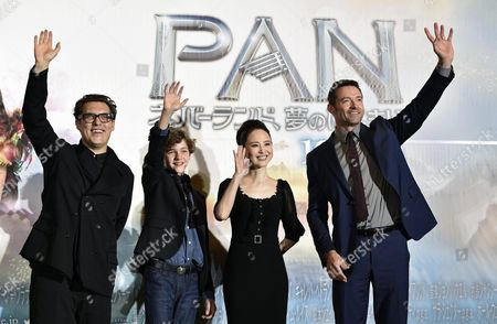 Australian Actors/cast Members Hugh Jackman (r) and Levi Miller (2-l) Pose with British Director Joe Wright (l) and Japanese Singer Seiko Matsuda During the Japanese Premiere of the Movie 'Pan' Directed by British Director Joe Wright in Tokyo Japan 01 October 2015 the Movie Will Be Released in Japan Theaters on 31 October 2015 Japan Tokyo