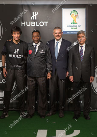 (l-r) Retired Japanese Professional Soccer Player Masashi Nakayama Hublot Brand Ambassador Pele (edson Arantes Do Nascimento) Ceo of Hublot Ricardo Guadalupe and Japan Football Association President Kuniya Daini Pose For Photographers During a Hublot Charity Event Held at the Japan Football Association Headquarters in Tokyo Japan 13 March 2014 the Event Raised 3 Million Yen (approximately 29 000 Us Dollars) in Which the Proceeds Will Be Donated to Help the Victims of the 2011 Japan March 11 Earthquake and Tsunami Japan Tokyo