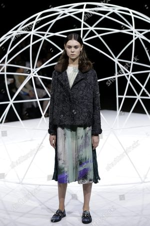 A Model Presents a Creation by Designers Yurika Ohara and Steven Hall For Their Label In-process by Hall Ohara During the Mercedes-benz Fashion Week in Tokyo Japan 17 March 2016 the Presentation of the Autumn/winter 2016 Collections Runs From 14 to 19 March Japan Tokyo