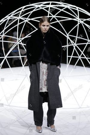 Stock Photo of A Model Presents a Creation by Designers Yurika Ohara and Steven Hall For Their Label In-process by Hall Ohara During the Mercedes-benz Fashion Week in Tokyo Japan 17 March 2016 the Presentation of the Autumn/winter 2016 Collections Runs From 14 to 19 March Japan Tokyo