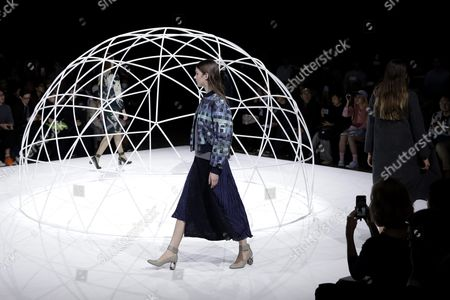 Models Present Creations by Designers Yurika Ohara and Steven Hall For Their Label In-process by Hall Ohara During the Mercedes-benz Fashion Week in Tokyo Japan 17 March 2016 the Presentation of the Autumn/winter 2016 Collections Runs From 14 to 19 March Japan Tokyo