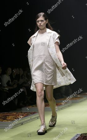 A Model Presents a Creation by Designers Yurika Ohara and Steven Hall For Their Label 'In-process' During the Mercedes-benz Fashion Week in Tokyo Japan 14 October 2015 the Presentation of the Spring/summer 2016 Collections Runs From 12 to 17 October Japan Tokyo