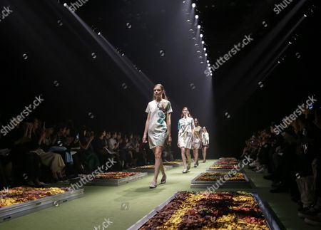 Models Present Creations by Designers Yurika Ohara and Steven Hall For Their Label 'In-process' During the Mercedes-benz Fashion Week in Tokyo Japan 14 October 2015 the Presentation of the Spring/summer 2016 Collections Runs From 12 to 17 October Japan Tokyo