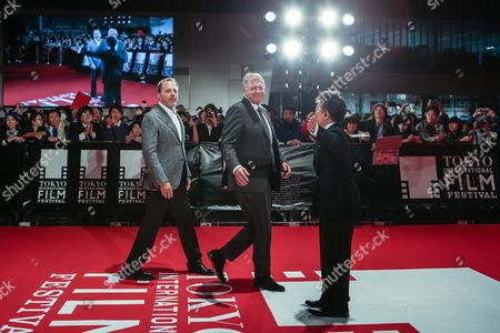 Stock Photo of Us Producer Jack Rapke (l) and Us Director Robert Zemeckis (c) Arrive Before an Audience During the Opening Red Carpet Event of the 28th Tokyo International Film Festival (tiff) in Tokyo Japan 22 October 2015 Tiff Will Show a Variety of Film Screenings For Until 31 October Japan Tokyo
