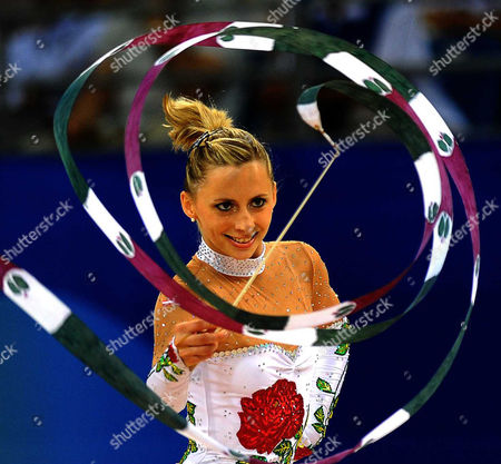 Caroline Weber of Austria competes during the individual all-round qualification rhythmic gymnastics event