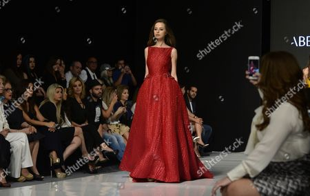 A Model Presents the Spring/summer 2016 Haute Couture Collection by Lebanese Designer Abed Mahfouz During the Beirut Fashion Week Beirut Lebanon 19 April 2016 the Event Runs From 19 to 23 April Lebanon Beirut