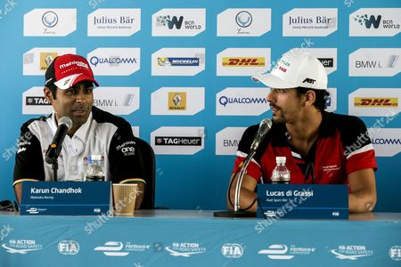 Indian Driver Karun Chandhok of Mahindra Racing Formula E Team (l) and Brazilian Driver Lucas Di Grassi of Audi Sport Abt Formula E Team (r) Speaks During a Media Conference Ahead of the Fia Formula E Championship Racing Series in Putrajaya Malaysia 21 November 2014 the Second Round of Formula E Race Takes Place in Putrajaya on 22 November Using Cars Powered Only by Electricity Malaysia Putrajaya