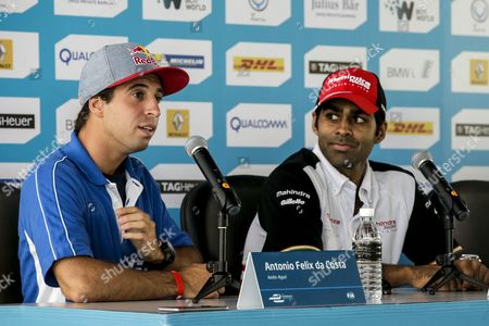 Portugal Driver Antonio Felix Da Costa of Amlin Aguri Formula E Team (l) and Indian Driver Karun Chandhok of Mahindra Racing Formula E Team (r) Speaks During a Media Conference Ahead of the Fia Formula E Championship Racing Series in Putrajaya Malaysia 21 November 2014 the Second Round of Formula E Race Takes Place in Putrajaya on 22 November Using Cars Powered Only by Electricity Malaysia Putrajaya
