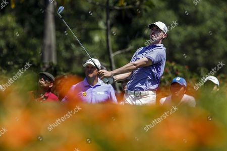 Paul Petersen of Usa Tees Off During the Final Round of Malaysian Open Golf Tournament in Kuala Lumpur Malaysia 08 February 2015 the Tournament is Held From 05 - 08 February 2015 Malaysia Kuala Lumpur