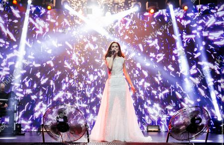 A Picture Dated 27 February 2016 Shows Winner Lidia Isac Performing During the Moldovan National Contest For the 61st Annual Eurovision Song Contest (esc) Held in Chisinau Moldova Isac Will Represent Moldova at the Esc That Consists of Two Semi-finals to Be Held on 10 and 12 May and a Grand Final Taking Place at the Ericsson Globe in Stockholm Sweden on 14 May 2016 Moldova, Republic of Chisinau