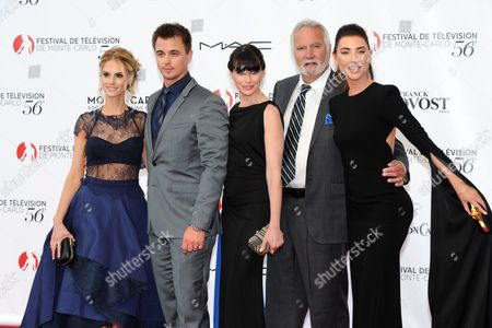 (l-r) Canadian Actress Kelly Kruger Us Actors Darin Brooks Rena Sofer and John Mccook and Canadian Actress Jacqueline Macinnes Wood of the Tv Series 'The Bold and the Beautiful' Pose at the Opening Ceremony of the 56th Monte Carlo Television Festival in Monaco 12 June 2016 the Festival Runs From 12 to 16 June Monaco Monaco