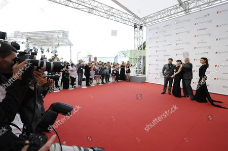 Actors Darin Brooks Rena Sofer John Mccook and Hunter Tylo of the Tv Series 'The Bold and the Beautiful' Pose at the Opening Ceremony of the 56th Monte Carlo Television Festival in Monaco 12 June 2016 the Festival Runs From 12 to 16 June Monaco Monaco